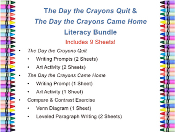 The Day the Crayons Quit & The Day the Crayons Came Home Literacy Bundle