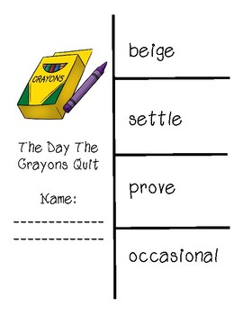 The Day the Crayons Quit Vocabulary and Spelling