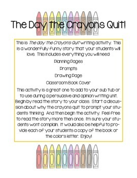 #2017dollardeals The Day the Crayons Quit Writing Activity (Also Sub Activity)