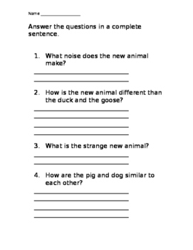 The Day the Sheep Showed Up Comprehension Packet