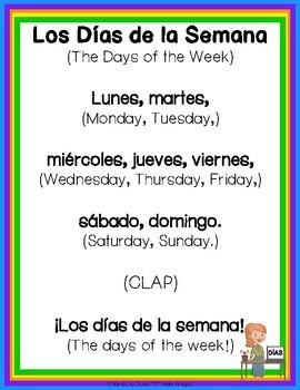 """Spanish - """"Days of the Week"""" - Los Días de la Semana  - Song and Activites"""