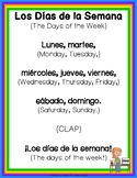 "Spanish - ""Days of the Week"" - Los Días de la Semana  - Song and Activites"