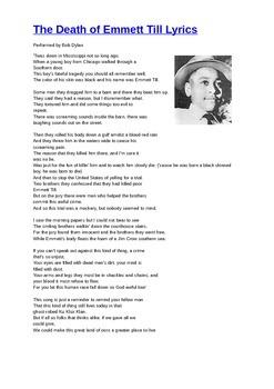 The Death of Emmett Till Lyrics