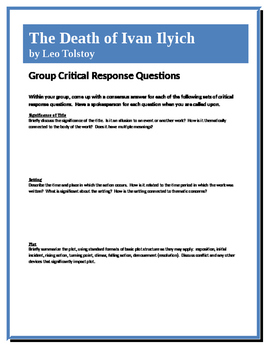 The Death of Ivan Ilyich - Tolstoy- Group Critical Response Questions