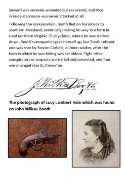 The Death of John Wilkes Booth Handout