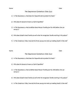 The Decameron/Canterbury Tales Reading Quiz