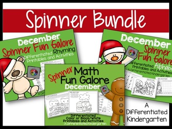 The December Spinner Bundle-Math, Letter/Sounds & Rhyming Fun Galore