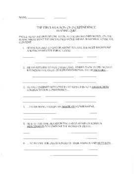 The Declaration of Independance Assessment