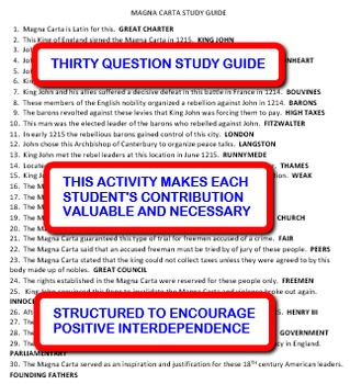 Magna Carta: Interdependent Answer Sheets Activity