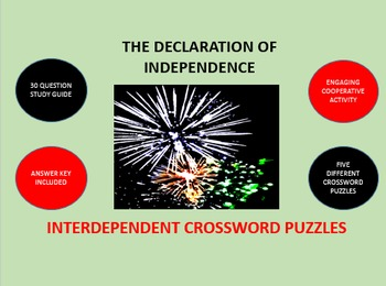 The Declaration of Independence: Interdependent Crossword Puzzles Activity