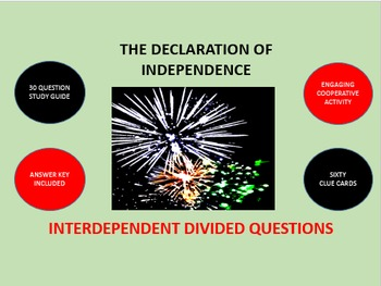 The Declaration of Independence: Interdependent Divided Questions Activity