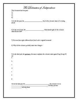 The Declaration of Independence Packet