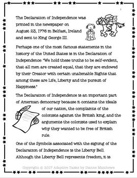 The Declaration of Independence Reading Comprehension Bundle