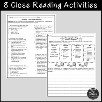 The Declaration of Independence Reading Comprehension Paired Passages