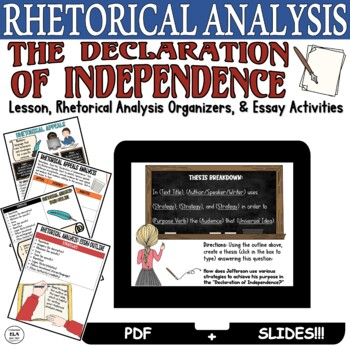 The Declaration of Independence: Rhetorical Analysis Writing Pack