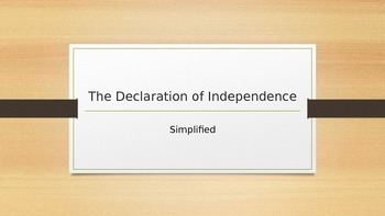 The Declaration of Independence, Simplified