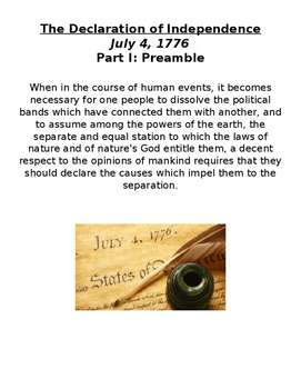 The Declaration of Independence Stations Activity