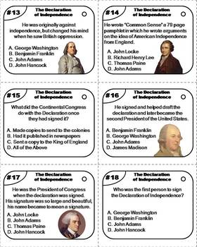 The Declaration of Independence Task Cards (American Government Unit)