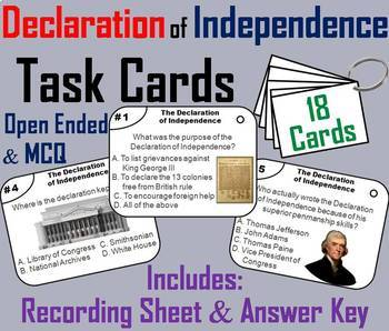The Declaration of Independence Task Cards and Activities Bundle