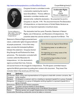 The Declaration of Independence: The Making of Liberty Info. Text and Activity