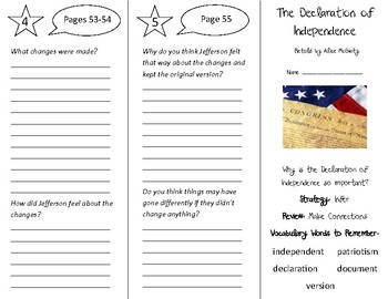 The Declaration of Independence Trifold - 5th Grade Literacy by Design Theme 2