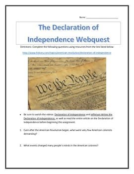 The Declaration of Independence- Webquest and Video Analys