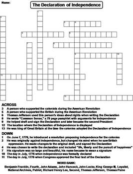 The Declaration of Independence Worksheet/ Crossword Puzzle