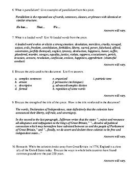 The Declaration of Independence Worksheet, Test, or Homework with Answer Key