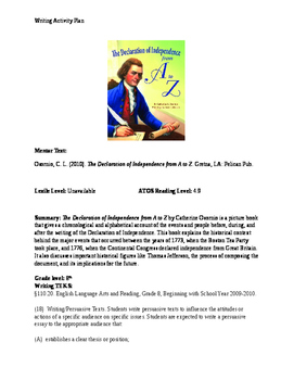 The Declaration of Independence from A-Z : Writing Activity
