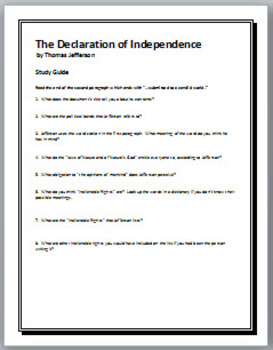 the declaration of independence study guide questions with key by the lit guy. Black Bedroom Furniture Sets. Home Design Ideas