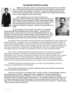 The Declaration of World War 1 in Russia Primary Source Analysis