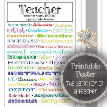 The Definition of a Teacher: Classroom Decoration, Printable Poster