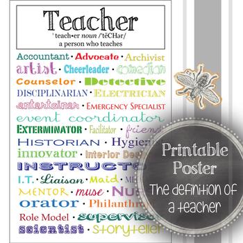 The Definition of a Teacher: Classroom Decoration, Printab