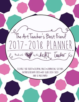 HALF OFF!  Art Teacher's Best Friend--(COOL COLORS COVER) 2017/2018 Planner
