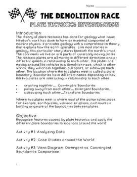 The Demolition Race of Plate Tectonics Investigation