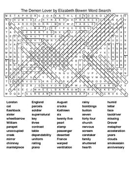 The Demon Lover by Elizabeth Bowen Crossword & Word Search
