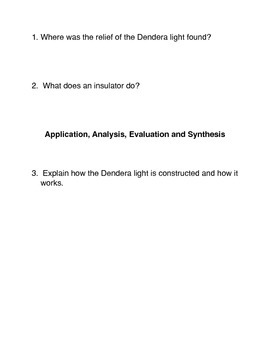 The Dendera Light Common Core Reading and Writing Activities
