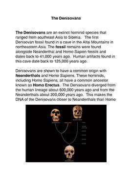 The Denisovans Common Core Activities