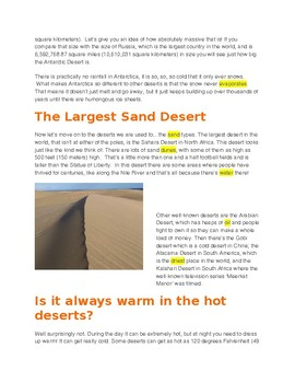 The Desert -- CLOZE Reading