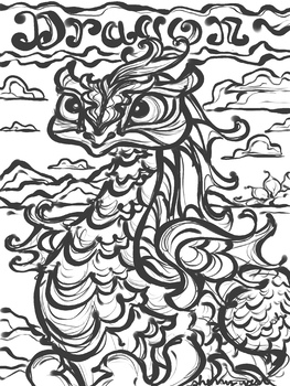 The Desert Dragon - Coloring Page, Clip art, Writing prompt, Reading