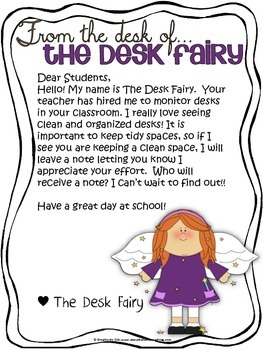 The Desk Fairy: Clean and Organized Desk Tool - Classroom Management
