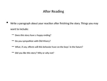 The Destructors--PowerPoint Review Questions and After Reading Reflection