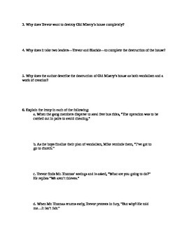 The Destructors--after Reading Comprehension Questions
