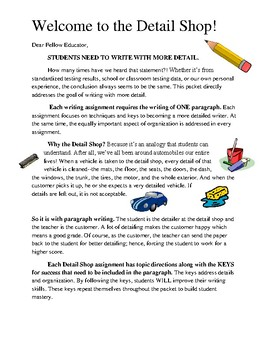 The Detail Shop: Getting Students to Write Descriptive and Detailed Paragraphs