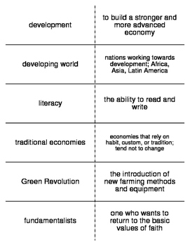 The Developing World Vocabulary Flash Cards for World History