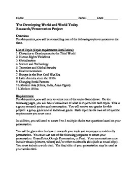 The Developing World and World Today Research and Presentation Project