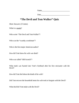 the devil and tom walker teaching resources teachers pay teachers  the devil and tom walker quiz