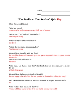 The Devil and Tom Walker Quiz