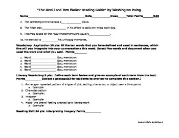 The Devil and Tom Walker Reading Guide