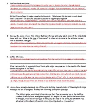 """The Devil and Tom Walker"" Washington Irving Reading Guide & Quiz(W/Answer Keys)"